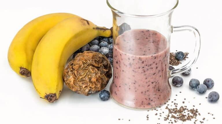 chiafrø, blåbær og bananer