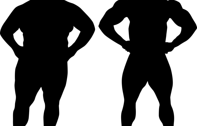 silhuetter af mænd med forskellig fedtprocent