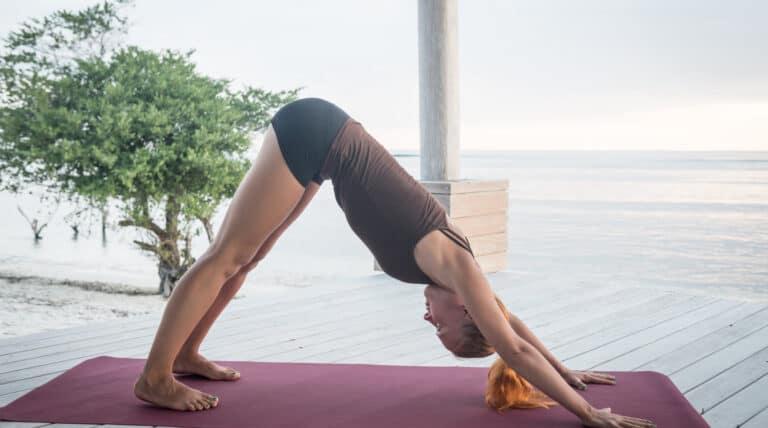 kvinde udføre yogaøvelsen hunden / downward facing dog
