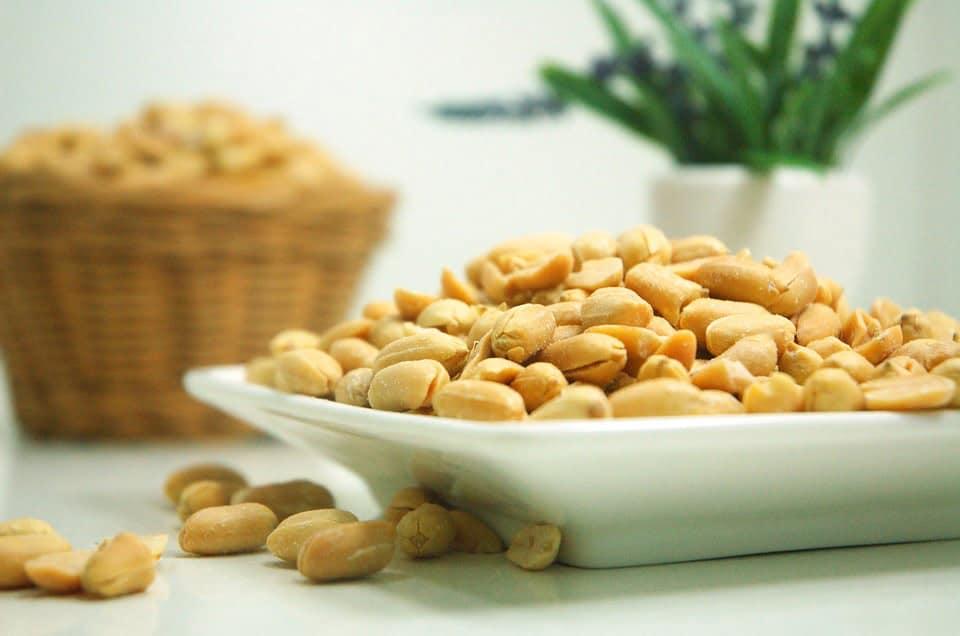 hvid skål med peanuts
